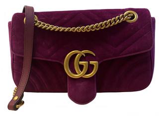 Gucci Marmont Purple Velvet Handbags