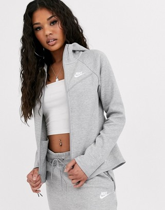Nike Tech Fleece zip through hoodie in grey