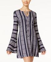 Teeze Me Juniors' Printed Bell-Sleeve Shift Dress
