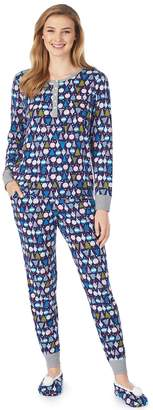 Cuddl Duds Petite Henley PJ Set with Slipper Sock