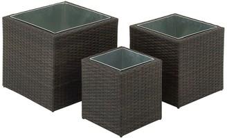 Uma Black Contemporary Rattan Cube Planter - Set of 3