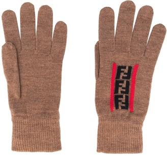 Fendi Zucca logo gloves