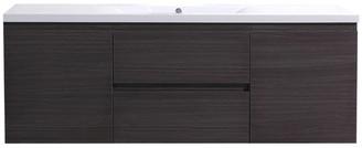 """Bathroom Vanity Wholesale MOB 60"""" Single Acrylic Sink Wall Mounted Vanity, Grey Oak"""