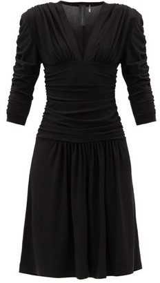 Norma Kamali Gathered-jersey Drop-waist Dress - Black