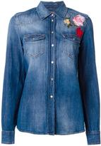 7 For All Mankind floral embroidery denim shirt