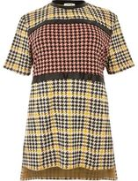 River Island Womens Plus yellow block houndstooth print tunic