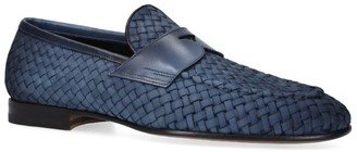 Santoni Leather Woven Carlos Double Monk Loafers