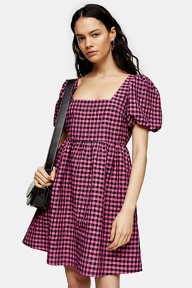 Topshop Pink Gingham Check Mini Dress