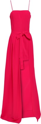 Cinq à Sept Gianni Asymmetric Tie-front Pleated Stretch-crepe Gown
