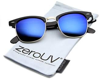 Zerouv Half Frame Semi-Rimless Horn Rimmed Sunglasses (Black-Silver/Smoke)