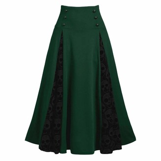 Beetlenew Womens Dress Women Dress Lace Patchwork High Waist Skirt Retro Gothic Pleated Skirt Xmas Ankle-Length Flared Swing Princess Dresses with Waist Ribbon Belt Slim Cosplay Gown Plus Size Black