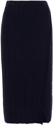 Diane von Furstenberg Ressa Wrap-effect Ribbed Wool-blend Midi Skirt