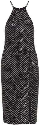 Alice + Olivia Ferne Embellished Zip-Slit Dress