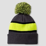 Cat & Jack Boys' Striped Beanie Cat & Jack - Grey/Green One Size