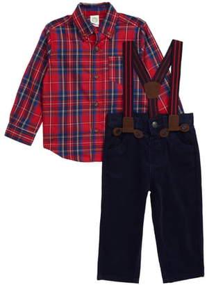 Little Me Plaid Woven Shirt, Pants & Suspenders Set