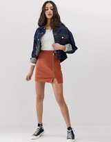 Asos Design DESIGN ponte mini skirt with side zip and popper waistband