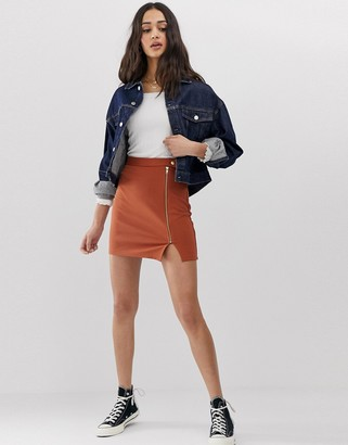 Asos Design DESIGN ponte mini skirt with side zip and popper waistband-Brown