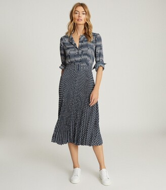 Reiss Ina - Printed Midi Dress in Blue/white