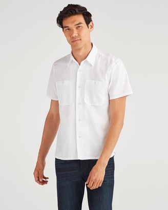 7 For All Mankind Short Sleeve Tee Pocket in White