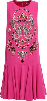 Dolce & Gabbana Ruffled Appliqued Crepe Mini Dress