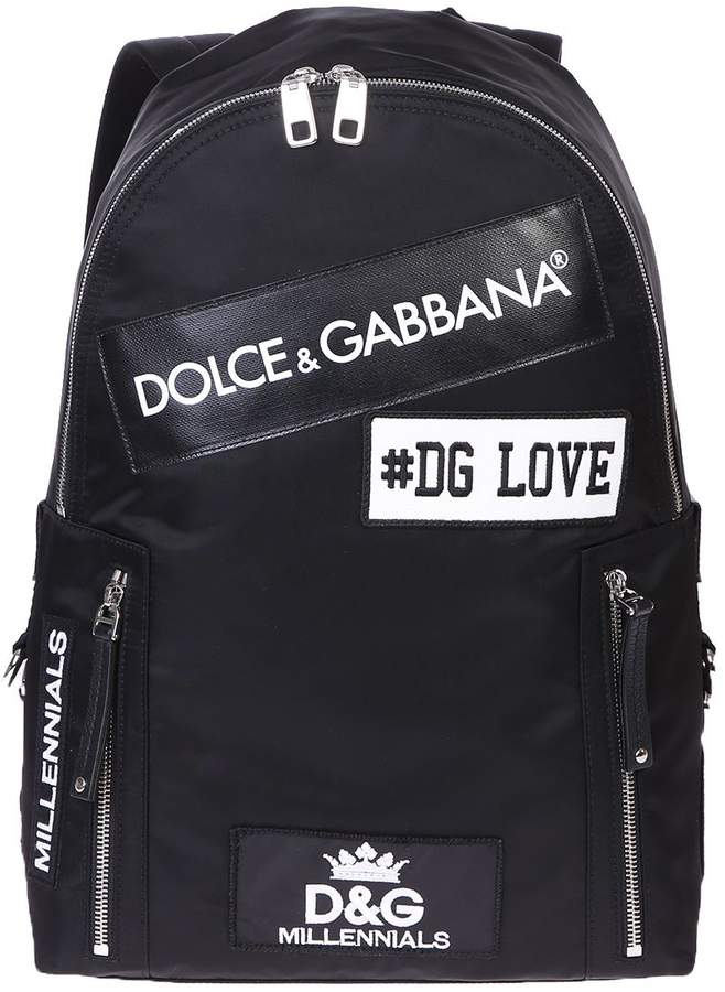 Dolce & Gabbana Black Patched Backpack