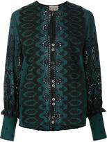 Sea paisley print open lace blouse