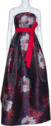 Carolina Herrera Navy Blue & Red Floral Jacquard Strapless Dress M