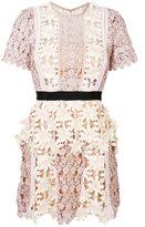 Self-Portrait floral patch mini dress - women - Polyester/Viscose - 6