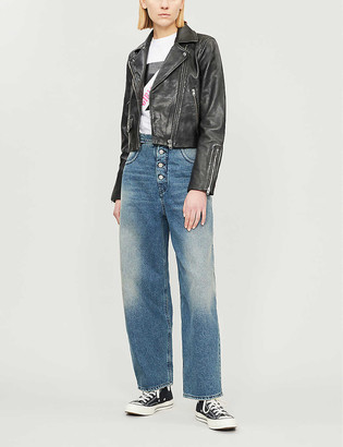 Topshop Tammy cropped leather jacket