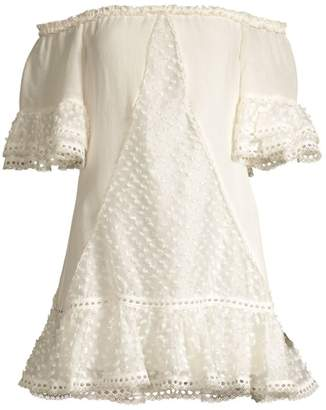 Alexis Norrina Off-The-Shoulder Lace Eyelet Shift Dress