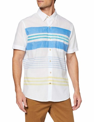 Izod Men's Horizontal Stripe Print Ss Shirt Casual