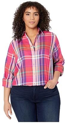 Lauren Ralph Lauren Plus Size Plaid Cotton Twill Shirt (Pink Multi) Women's Clothing