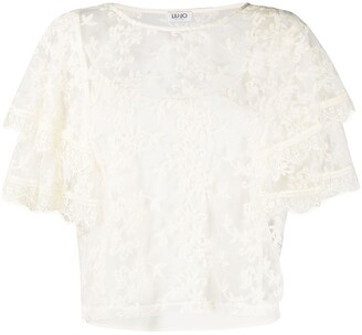 Liu Jo Embroidered Sheer Lace Top