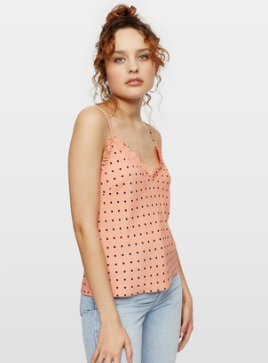 Miss Selfridge Coral Spot Print Frill Edge Camisole Top