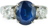 Diana M. Jewels Platinum Oval Sapphire & Diamond Ring, 1.54tcw, Size 5.5