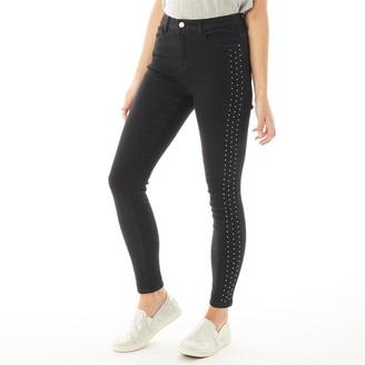 Fluid Womens Diamante Trim Skinny Jeans Black