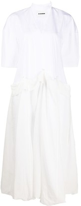 Jil Sander Sculptured Cotton Midi Dress