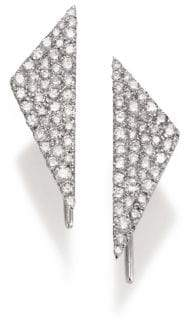 Meira T Diamond& 14K White Gold Triangle Earrings