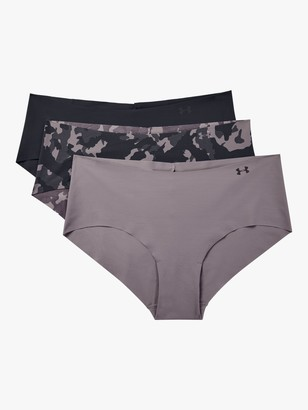 Under Armour Pure Stretch Printed Hipster Briefs, Pack of 3, Slate Purple/Black