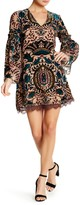 Alexia Admor Long Sleeve V-Neck Embroidered Velvet Multicolor Dress