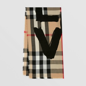 Burberry Love Print Lightweight Check Cashmere Scarf