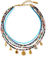 Sequin 5-Strand Bead Necklace with Charms