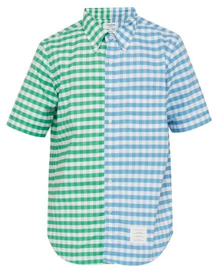 Thom Browne Gingham Panelled Cotton Shirt - Mens - Blue