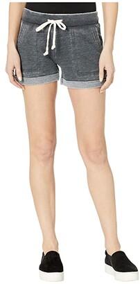 Alternative Burnout French Terry Lounge Shorts (Washed Black) Women's Shorts