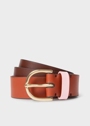 Paul Smith Women's Colour-Block Leather Gold Buckle Belt
