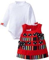 Bonnie Baby girls Newborn Stripe And Solid Corduroy Jumper