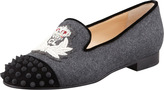 Christian Louboutin Intern Spiked Cap-Toe Flannel Loafer, Gray/Black