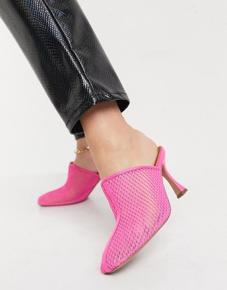 ASOS DESIGN Sian mesh mid heeled mules in pink
