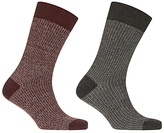 John Lewis Made in Italy Grid Patterned Socks, Pack of 2, Burgundy/Green
