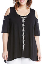 Karen Kane Plus Embroidered Cold Shoulder Top